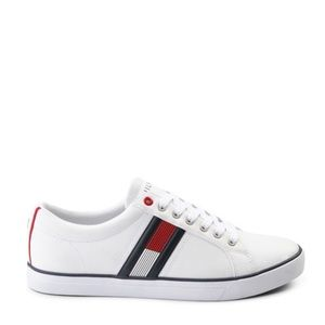 Mens Tommy Hilfiger White Shoe Casual Sneaker red